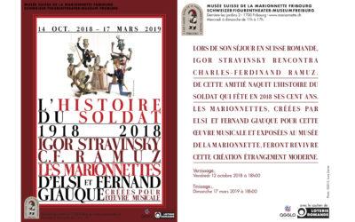 Ausstellung der Originalmarionetten (1931) zur Geschichte vom Soldaten von Elsi und Fernand Giauque, Schweizer Figurentheater-Museum, Fribourg/Freiburg